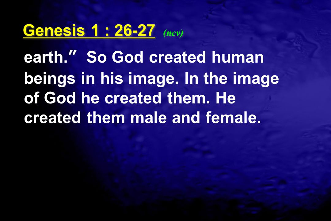 """earth."""" So God created human beings in his image. In the image of God he created them. He created them male and female. Genesis 1 : 26-27 (ncv)"""