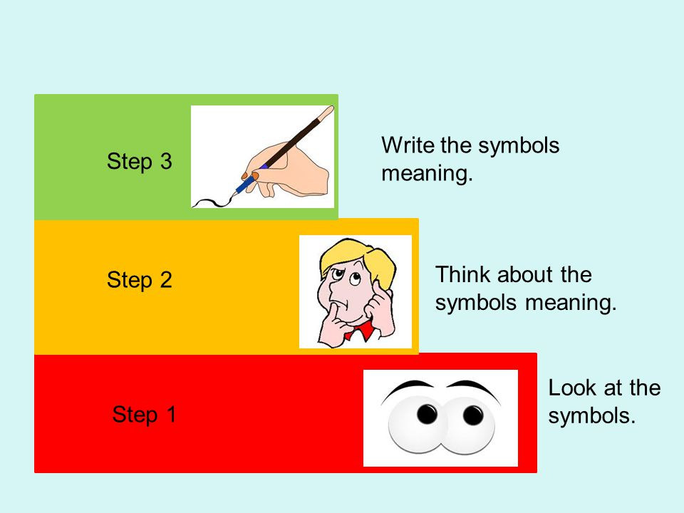 Step 3 Step 2 Step 1 Look at the symbols. Think about the symbols meaning. Write the symbols meaning.