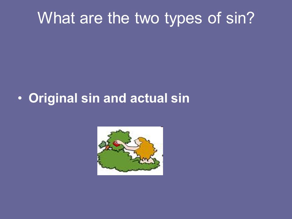 What are the two types of sin Original sin and actual sin