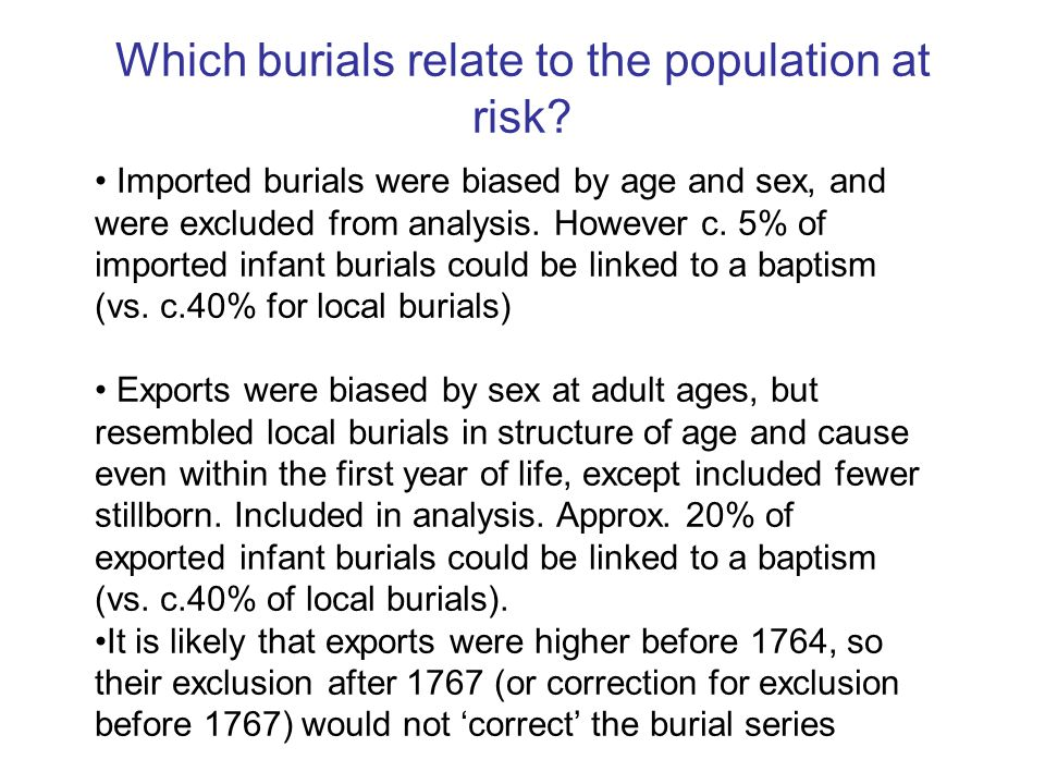 Which burials relate to the population at risk.