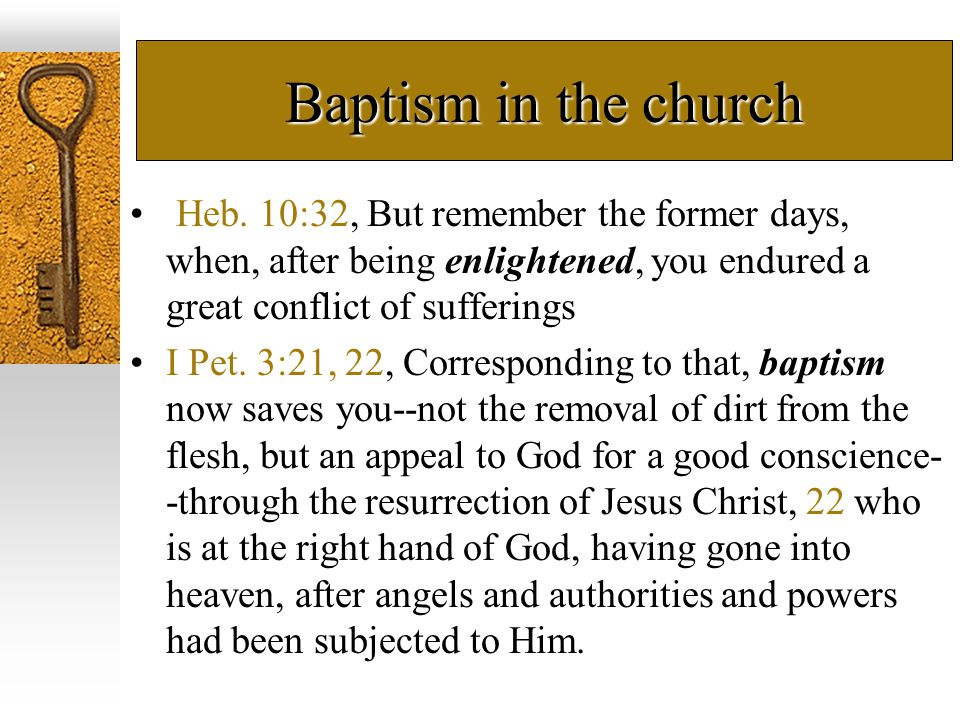 Baptism in the church Heb.