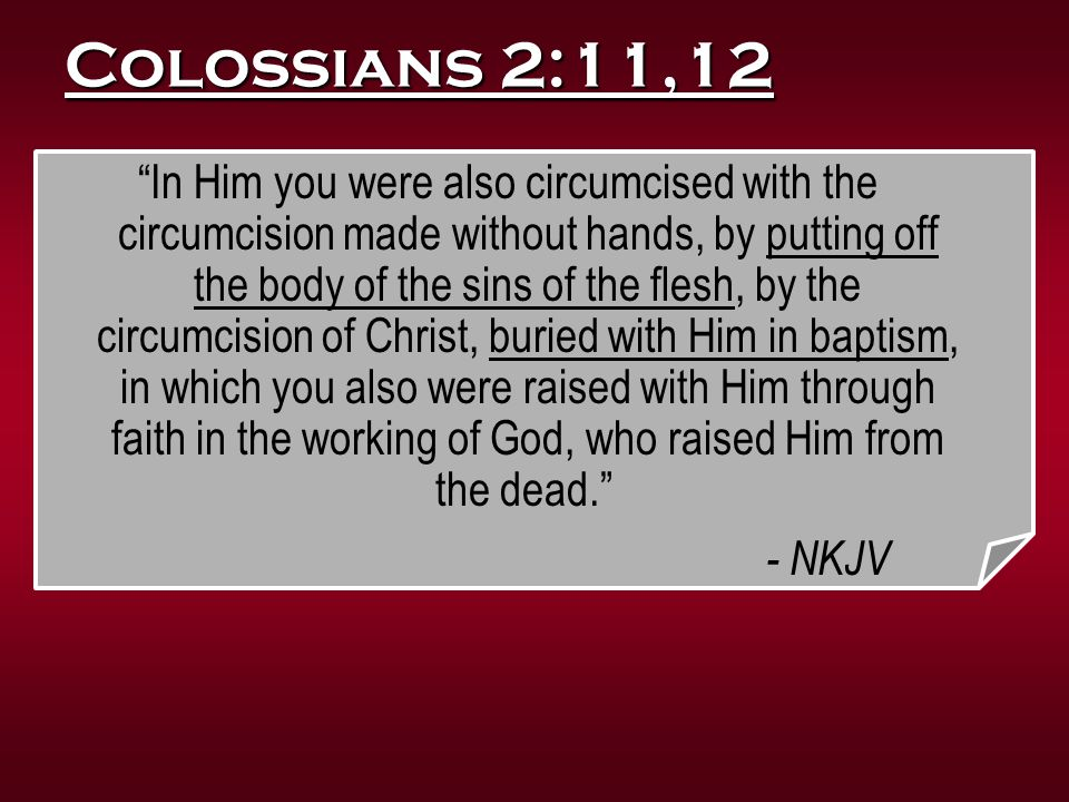 """Colossians 2:11,12 """"In Him you were also circumcised with the circumcision made without hands, by putting off the body of the sins of the flesh, by th"""