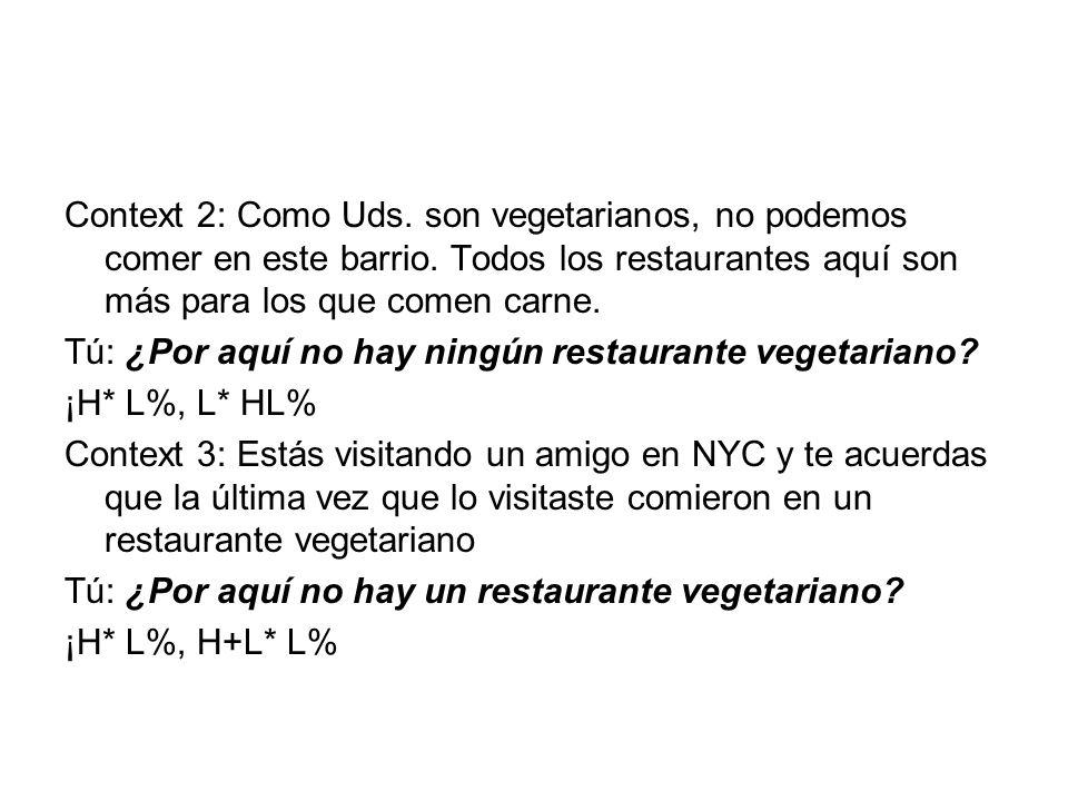 Context 2: Como Uds. son vegetarianos, no podemos comer en este barrio.