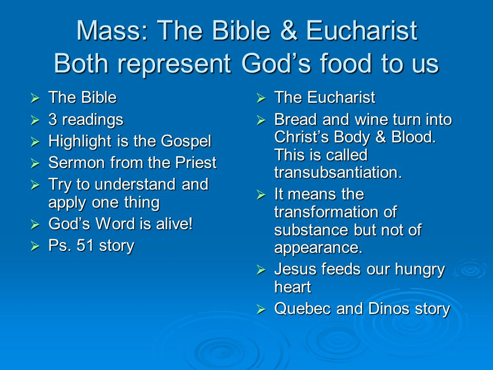 Mass: The Bible & Eucharist Both represent God's food to us  The Bible  3 readings  Highlight is the Gospel  Sermon from the Priest  Try to understand and apply one thing  God's Word is alive.