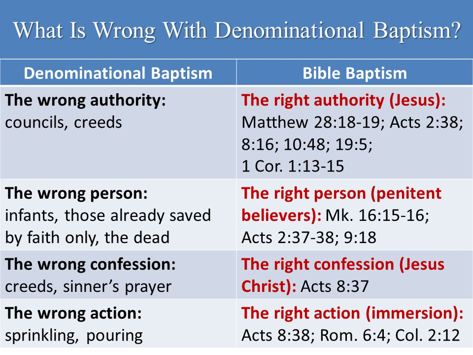 Denominational BaptismBible Baptism The wrong authority: councils, creeds The right authority (Jesus): Matthew 28:18-19; Acts 2:38; 8:16; 10:48; 19:5;