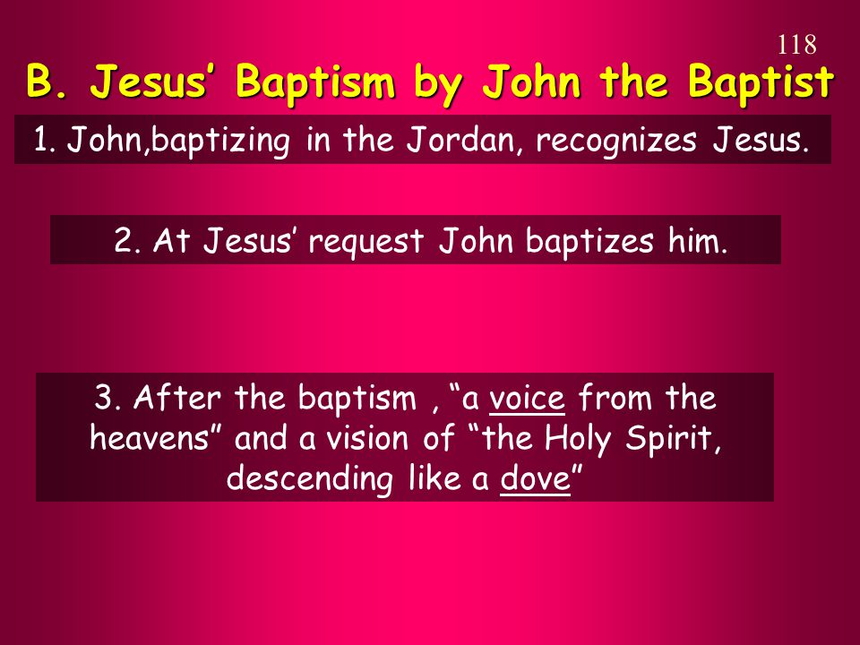 B. Jesus' Baptism by John the Baptist 118 1. John,baptizing in the Jordan, recognizes Jesus.