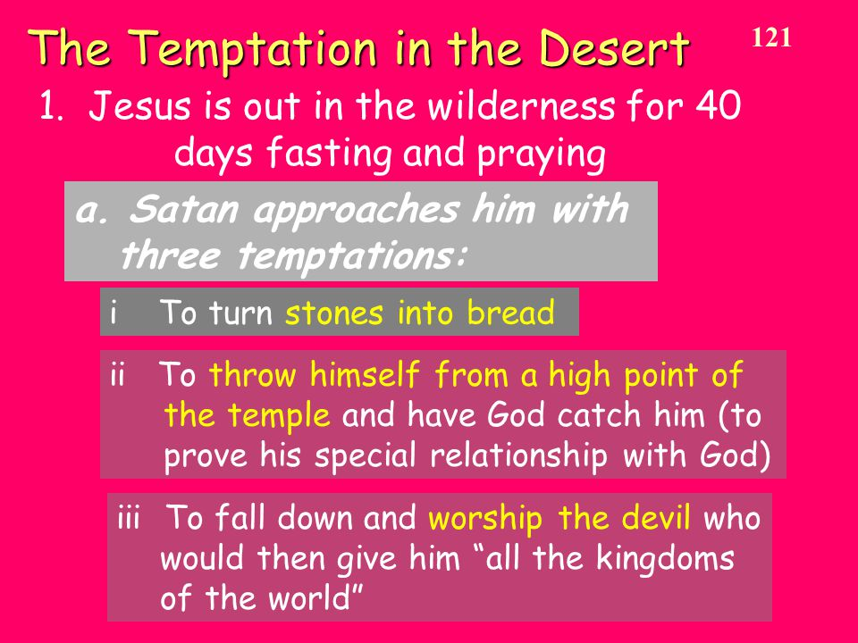 The Temptation in the Desert 1. Jesus is out in the wilderness for 40 days fasting and praying a.