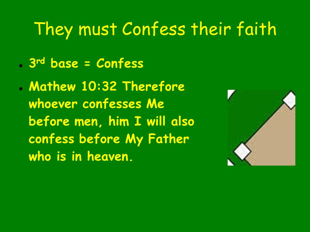 They must Confess their faith 3 rd base = Confess Mathew 10:32 Therefore whoever confesses Me before men, him I will also confess before My Father who is in heaven.