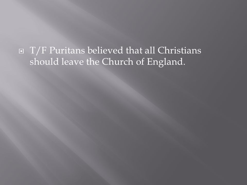  T/F Puritans believed that all Christians should leave the Church of England.