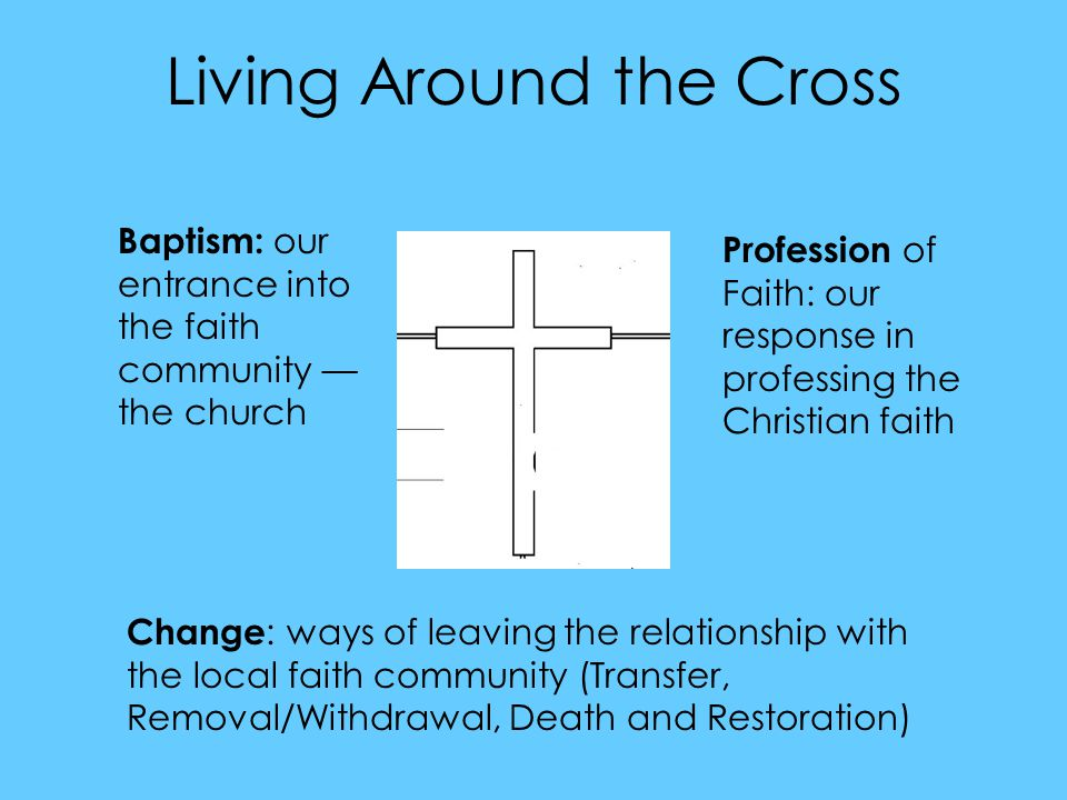 Living Around the Cross Baptism: our entrance into the faith community — the church Profession of Faith: our response in professing the Christian faith Change : ways of leaving the relationship with the local faith community (Transfer, Removal/Withdrawal, Death and Restoration)