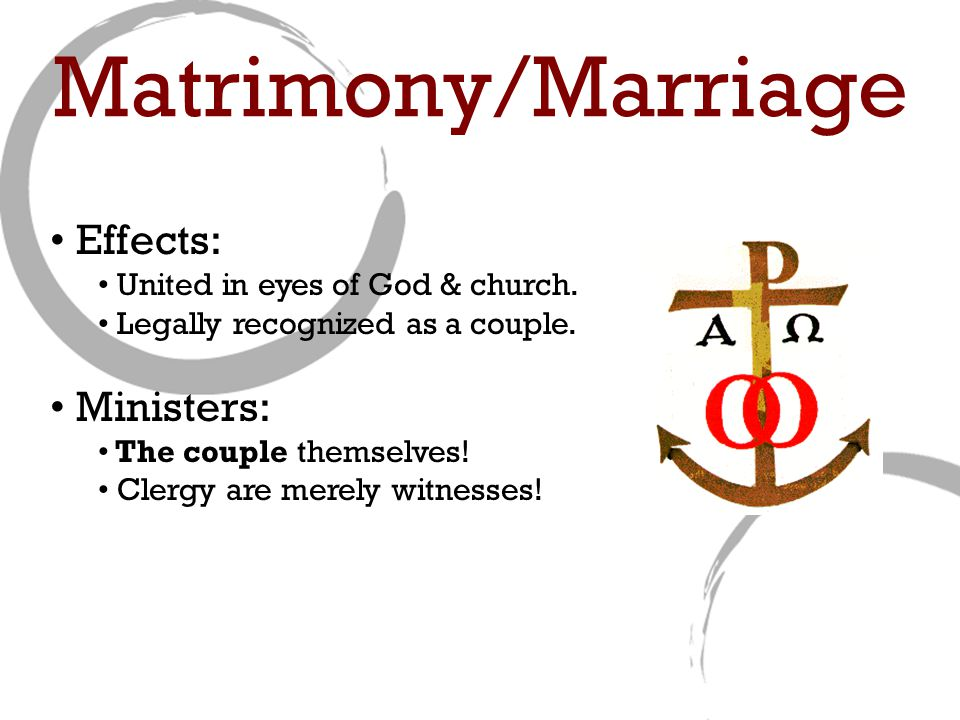 Effects: United in eyes of God & church. Legally recognized as a couple.