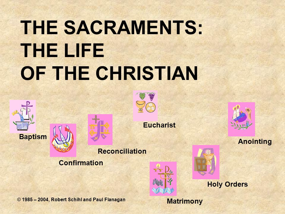 THE SACRAMENTS: THE LIFE OF THE CHRISTIAN Baptism Confirmation Eucharist Reconciliation Holy Orders Anointing Matrimony © 1985 – 2004, Robert Schihl and Paul Flanagan