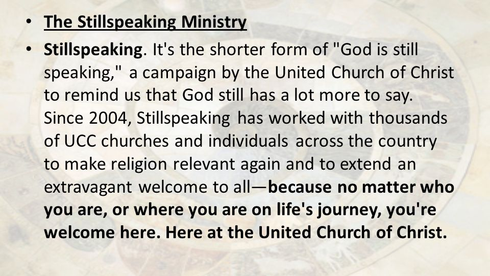 The Stillspeaking Ministry Stillspeaking.