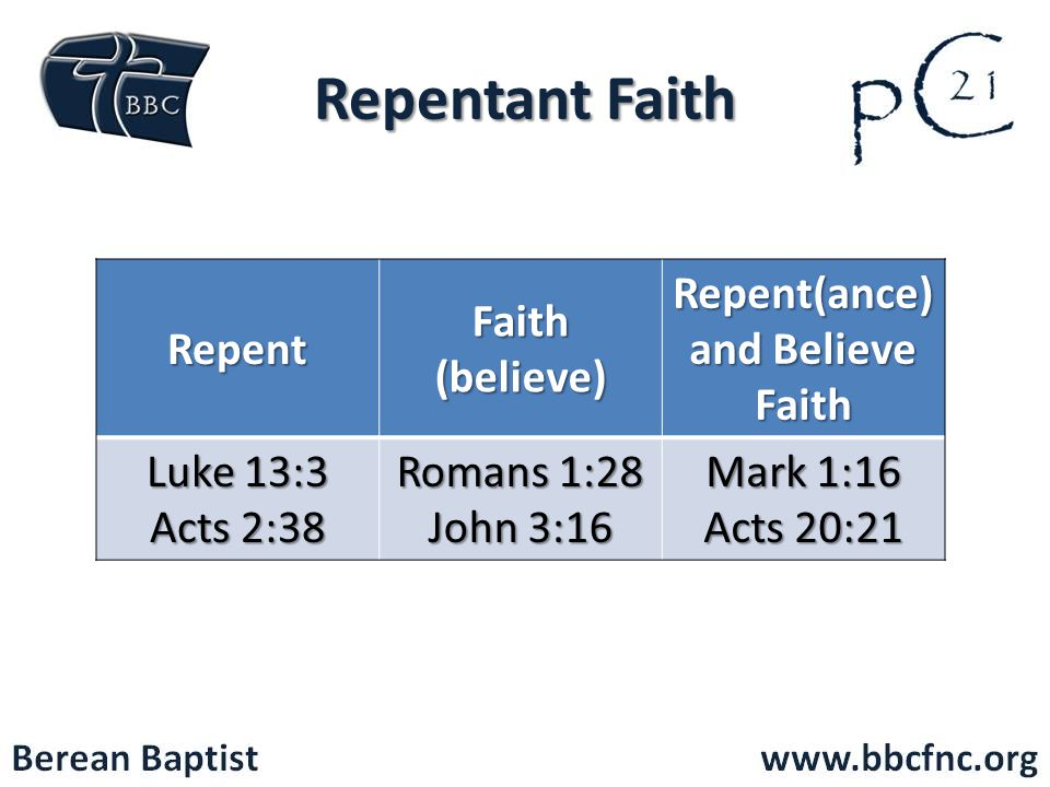 Repent Faith (believe) Repent(ance) and Believe Faith Luke 13:3 Acts 2:38 Romans 1:28 John 3:16 Mark 1:16 Acts 20:21 Repentant Faith