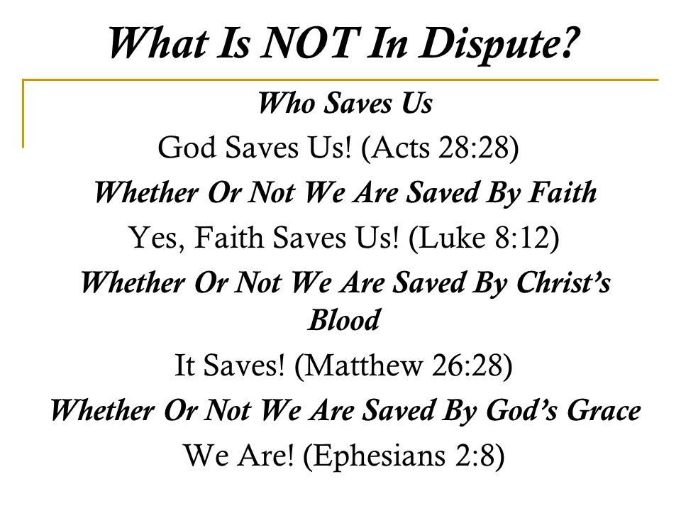 What Is NOT In Dispute. Who Saves Us God Saves Us.