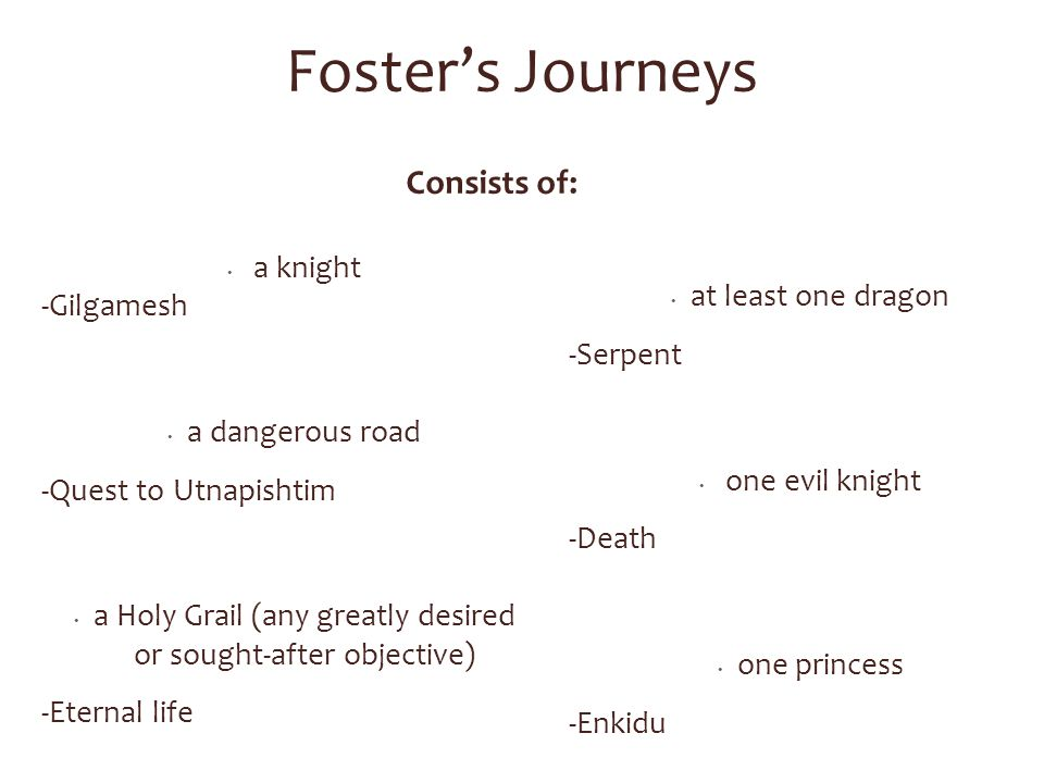 Foster's Journeys a knight -Gilgamesh a dangerous road -Quest to Utnapishtim a Holy Grail (any greatly desired or sought-after objective) -Eternal life at least one dragon -Serpent one evil knight -Death one princess -Enkidu Consists of: