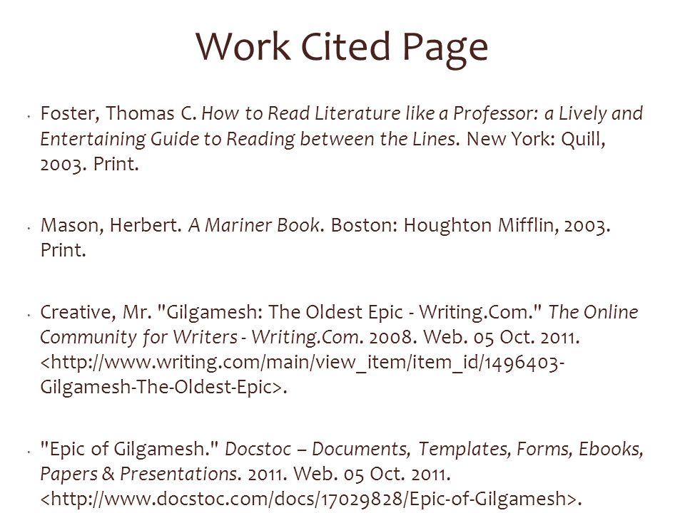 Work Cited Page Foster, Thomas C.