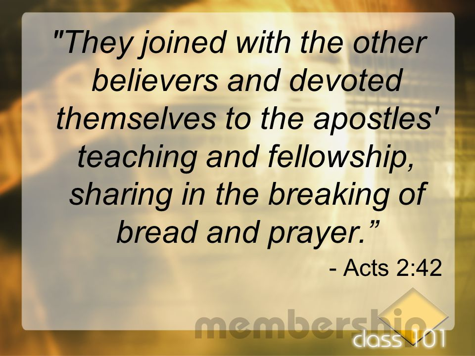They joined with the other believers and devoted themselves to the apostles teaching and fellowship, sharing in the breaking of bread and prayer. - Acts 2:42