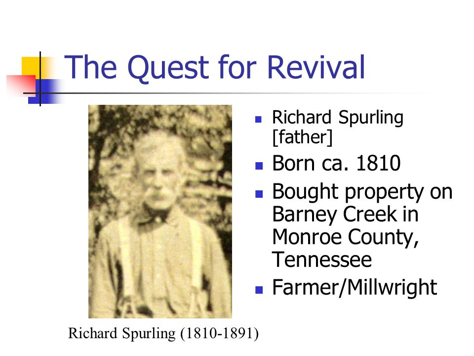 The Quest for Revival Richard Spurling [father] Born ca.