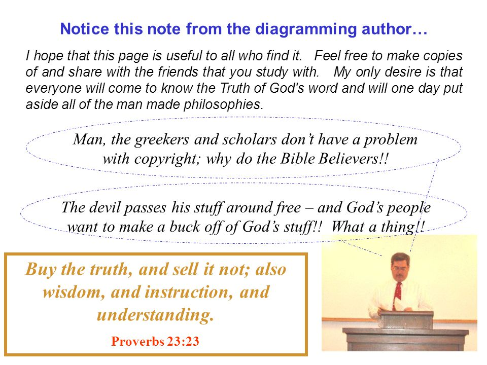 Notice this note from the diagramming author… Man, the greekers and scholars don't have a problem with copyright; why do the Bible Believers!.