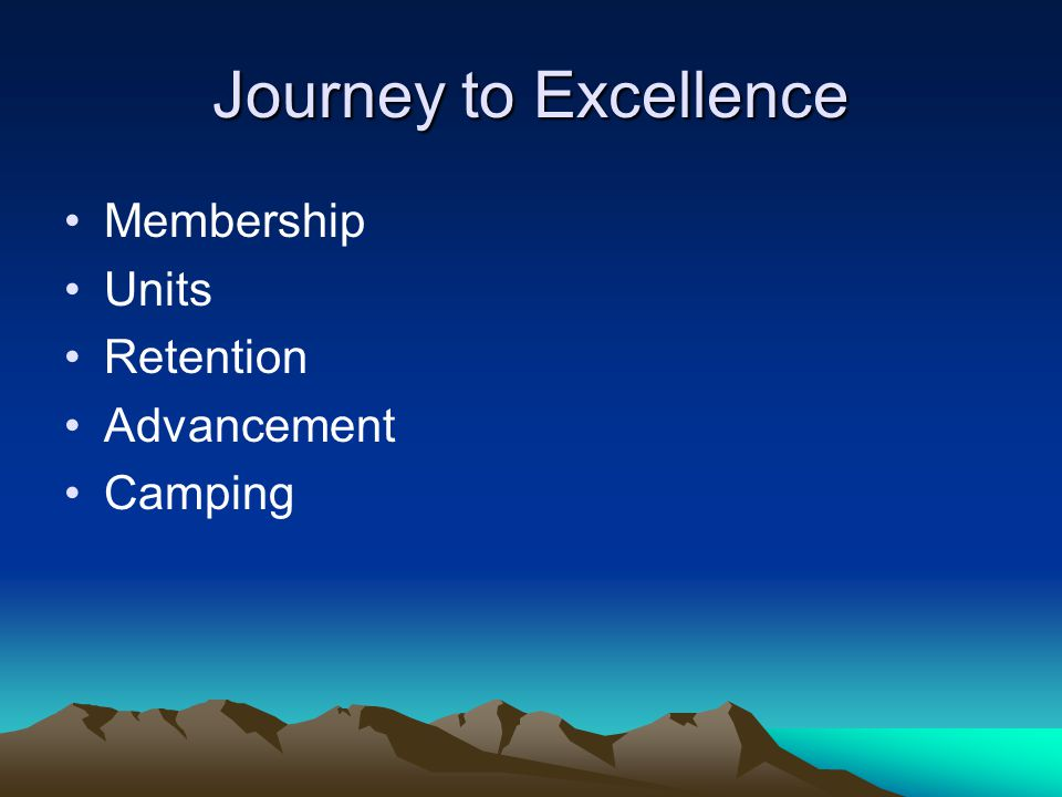 Journey to Excellence Membership Units Retention Advancement Camping