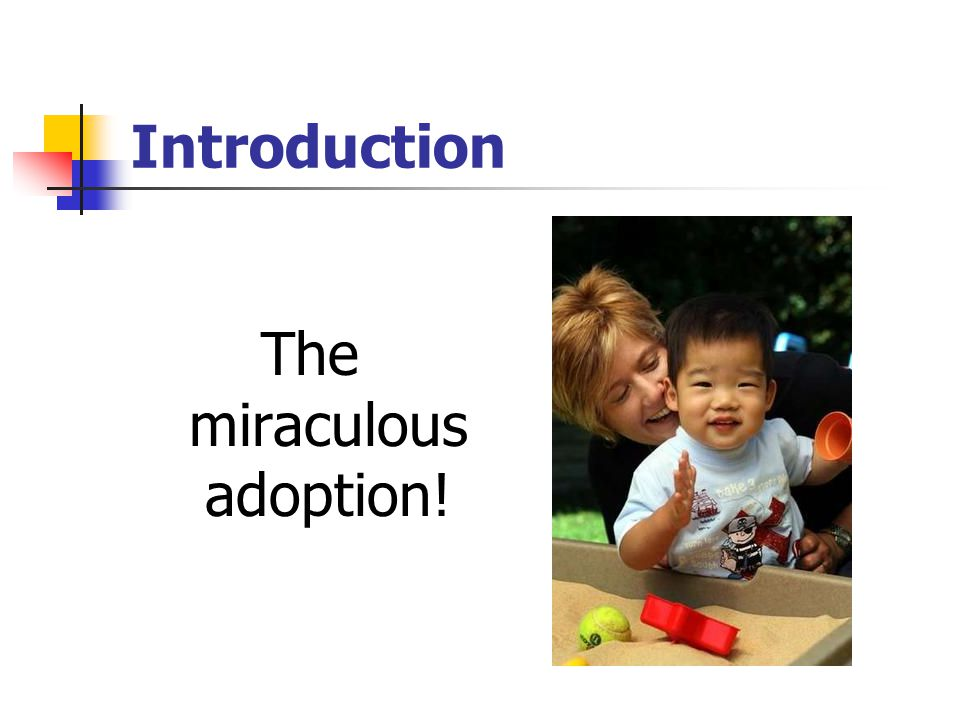 Introduction The miraculous adoption!