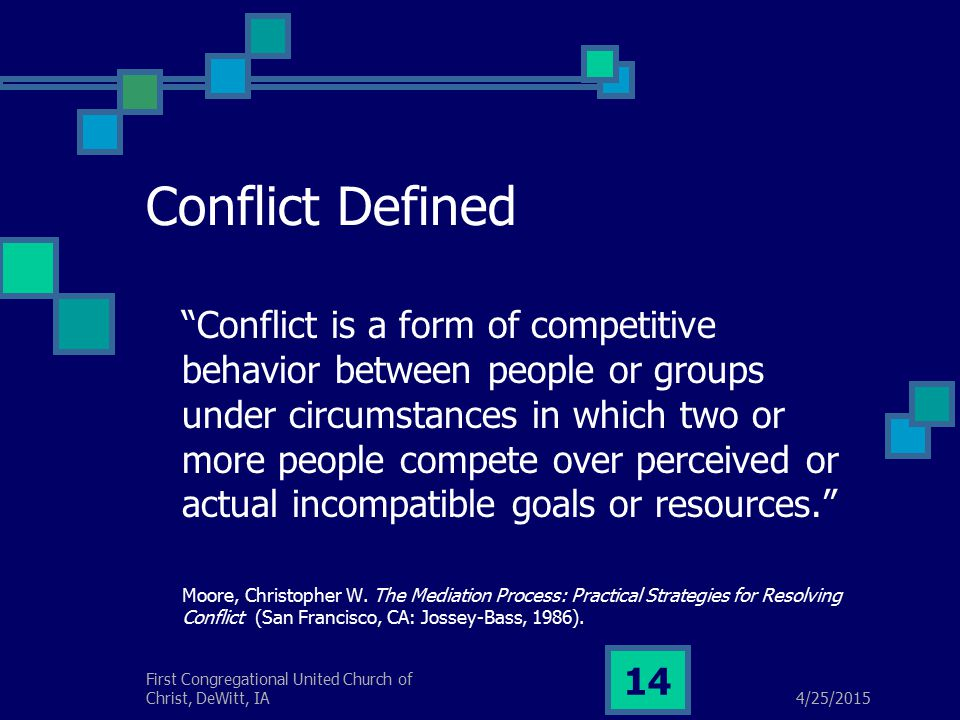 4/25/2015 First Congregational United Church of Christ, DeWitt, IA 14 Conflict Defined Conflict is a form of competitive behavior between people or groups under circumstances in which two or more people compete over perceived or actual incompatible goals or resources. Moore, Christopher W.