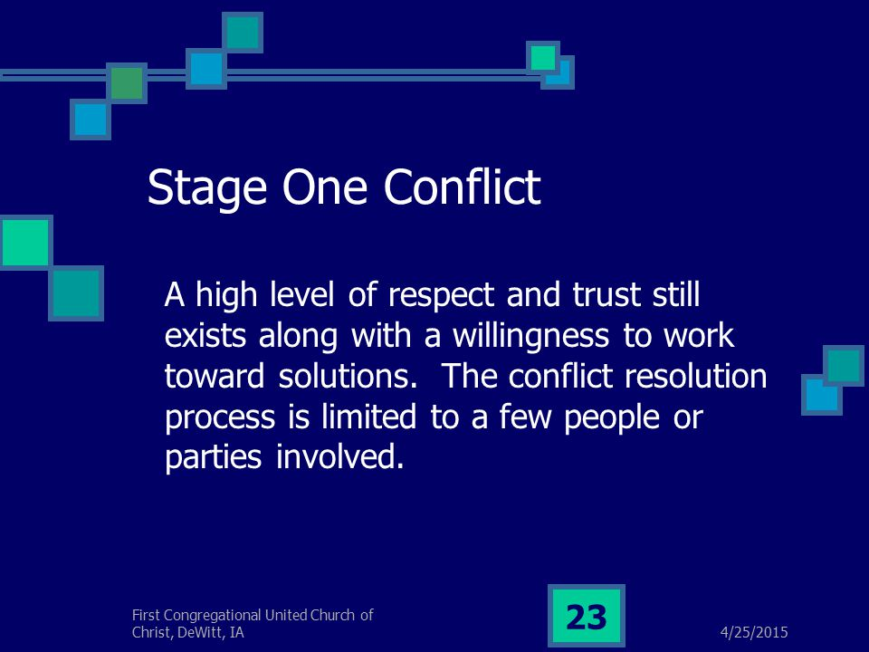 4/25/2015 First Congregational United Church of Christ, DeWitt, IA 23 Stage One Conflict A high level of respect and trust still exists along with a willingness to work toward solutions.