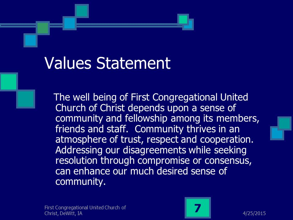 4/25/2015 First Congregational United Church of Christ, DeWitt, IA 28 If conflict should reach this unfortunate stage, it is critical to bring in a highly skilled outside mediator.