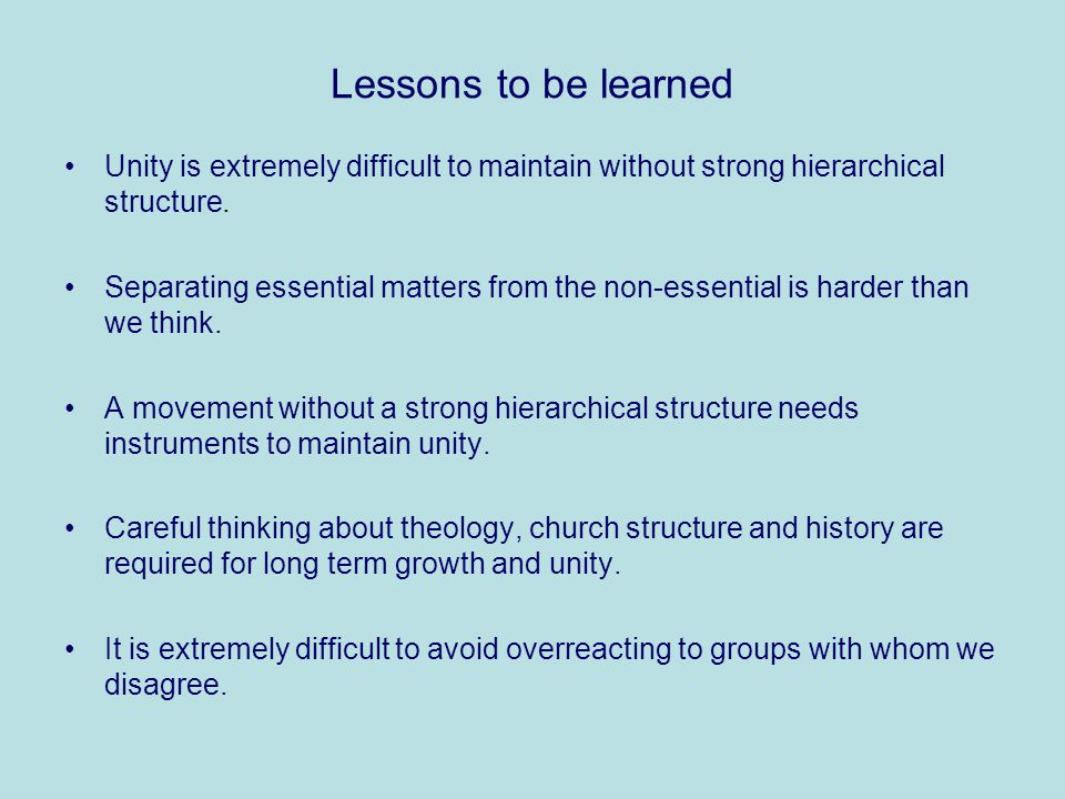 Lessons to be learned Unity is extremely difficult to maintain without strong hierarchical structure.