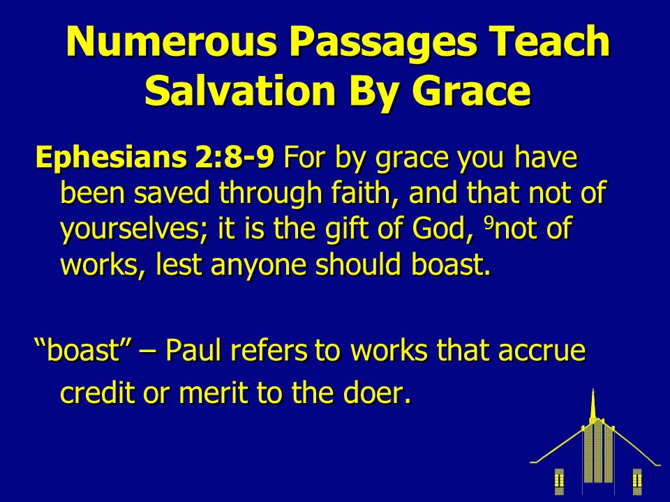 Not By Works Titus 3:4-7 But when the kindness and the love of God our Savior toward man appeared, 5 not by works of righteous-ness which we have done, but accord-ing to His mercy He saved us… 7 that having been justified by His grace….