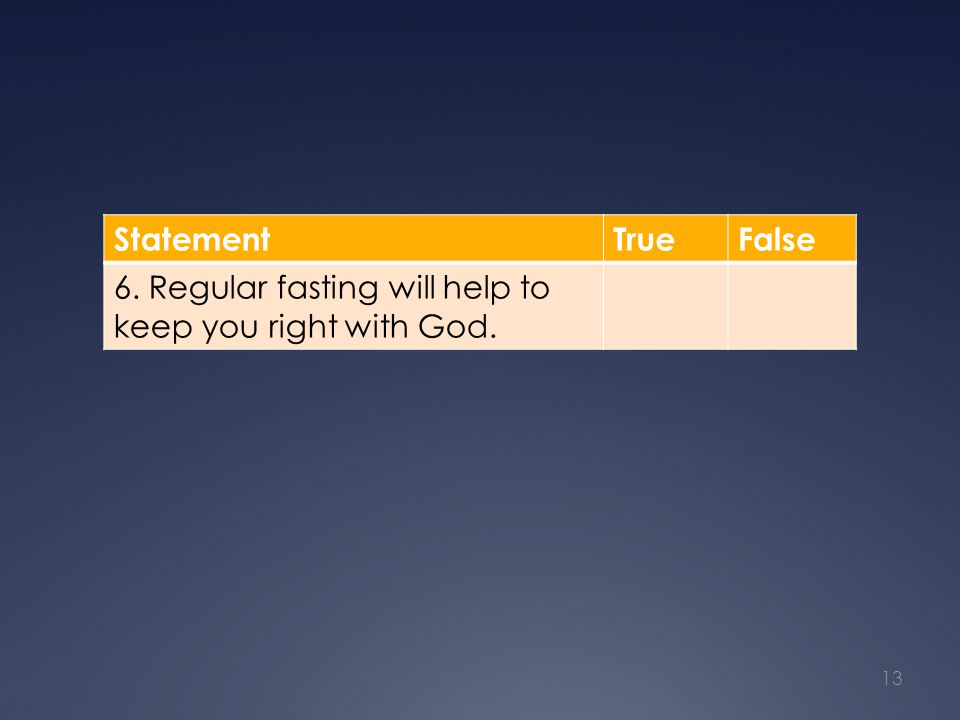 StatementTrueFalse 6. Regular fasting will help to keep you right with God. 13