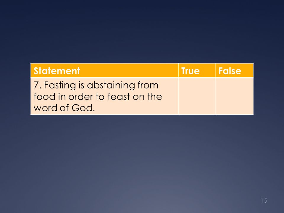 StatementTrueFalse 7. Fasting is abstaining from food in order to feast on the word of God. 15