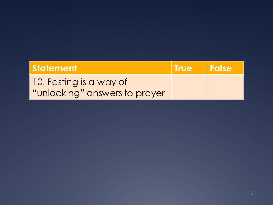 "StatementTrueFalse 10. Fasting is a way of ""unlocking"" answers to prayer 21"