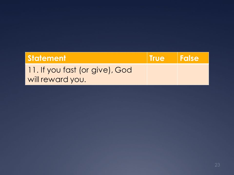 StatementTrueFalse 11. If you fast (or give), God will reward you. 23
