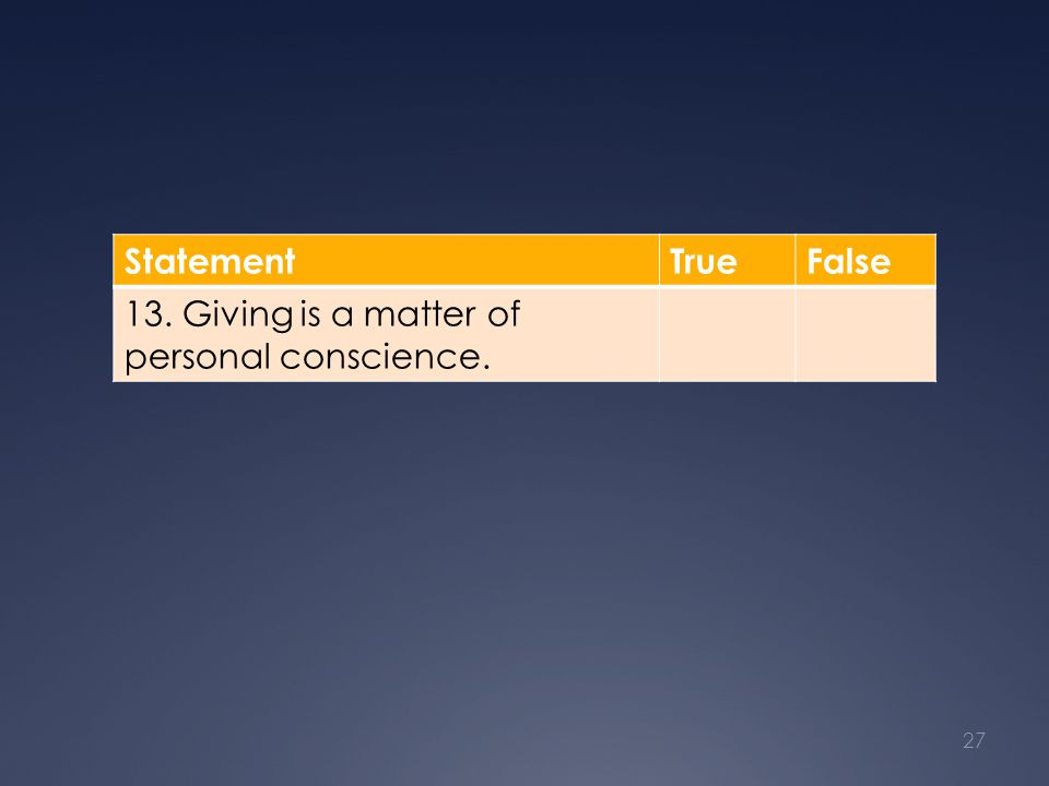 StatementTrueFalse 13. Giving is a matter of personal conscience. 27
