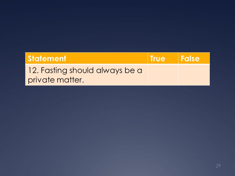 StatementTrueFalse 12. Fasting should always be a private matter. 29