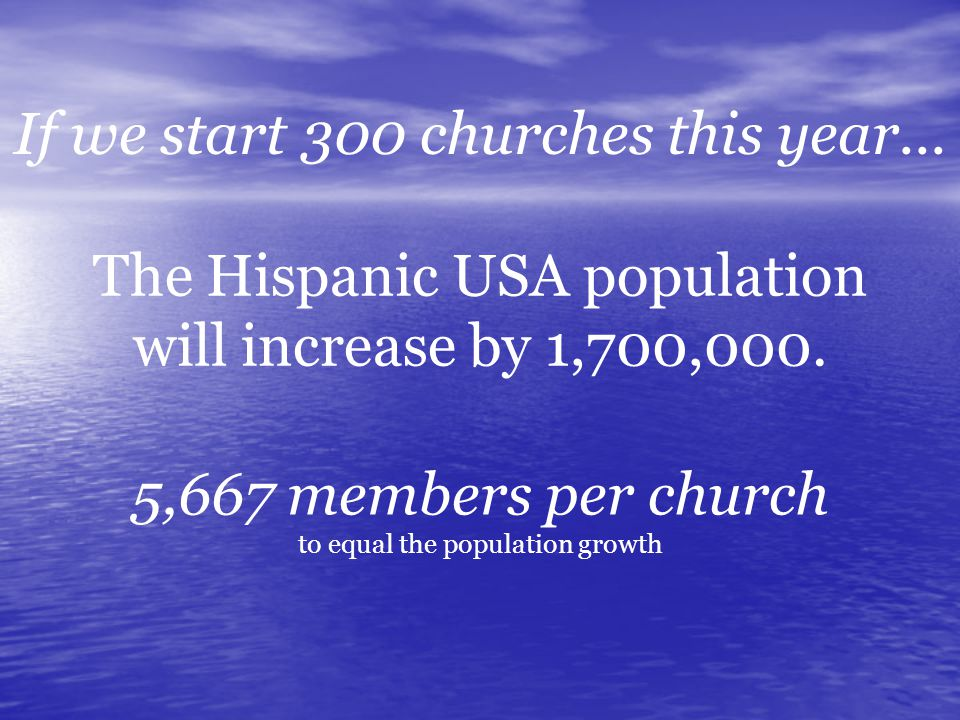 The Hispanic USA population will increase by 1,700,000.
