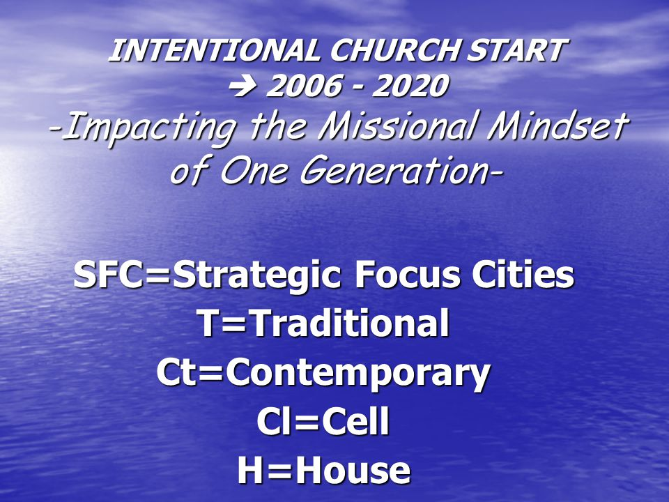 INTENTIONAL CHURCH START  2006 - 2020 -Impacting the Missional Mindset of One Generation- SFC=Strategic Focus Cities T=TraditionalCt=ContemporaryCl=CellH=House