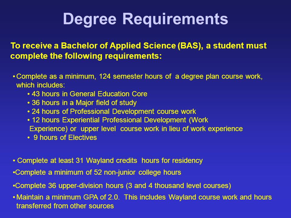 Degree Requirements To receive a Bachelor of Applied Science (BAS), a student must complete the following requirements: Complete as a minimum, 124 sem