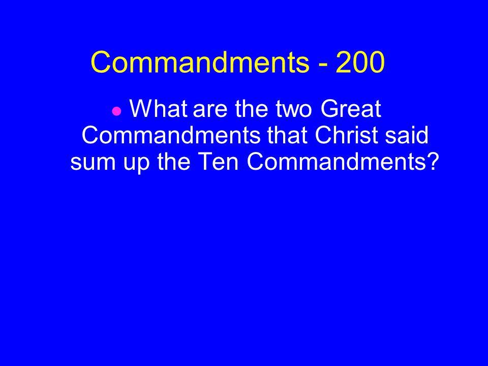 ANSWER Commandments - 100 Moses