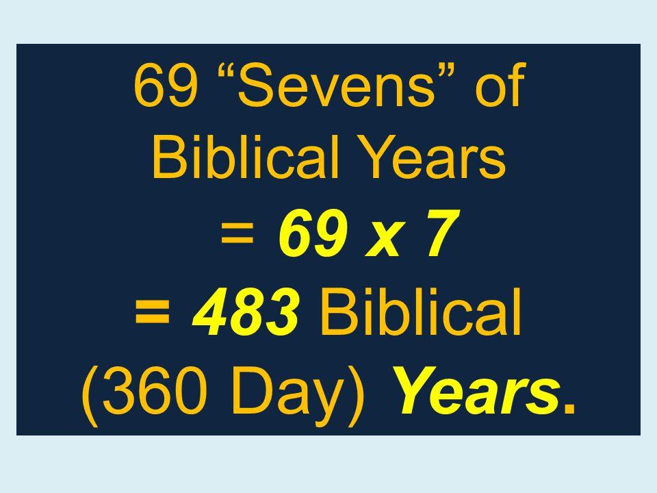 69 Sevens of Biblical Years = 69 x 7 = 483 Biblical (360 Day) Years.