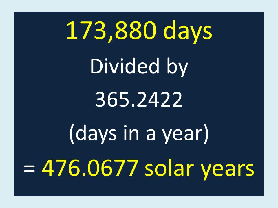 173,880 days Divided by 365.2422 (days in a year) = 476.0677 solar years