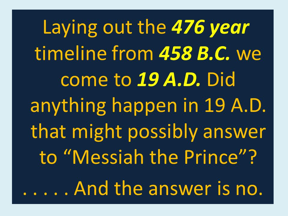 Laying out the 476 year timeline from 458 B.C. we come to 19 A.D.