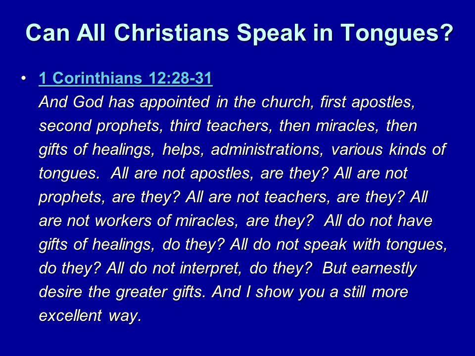 Can All Christians Speak in Tongues.