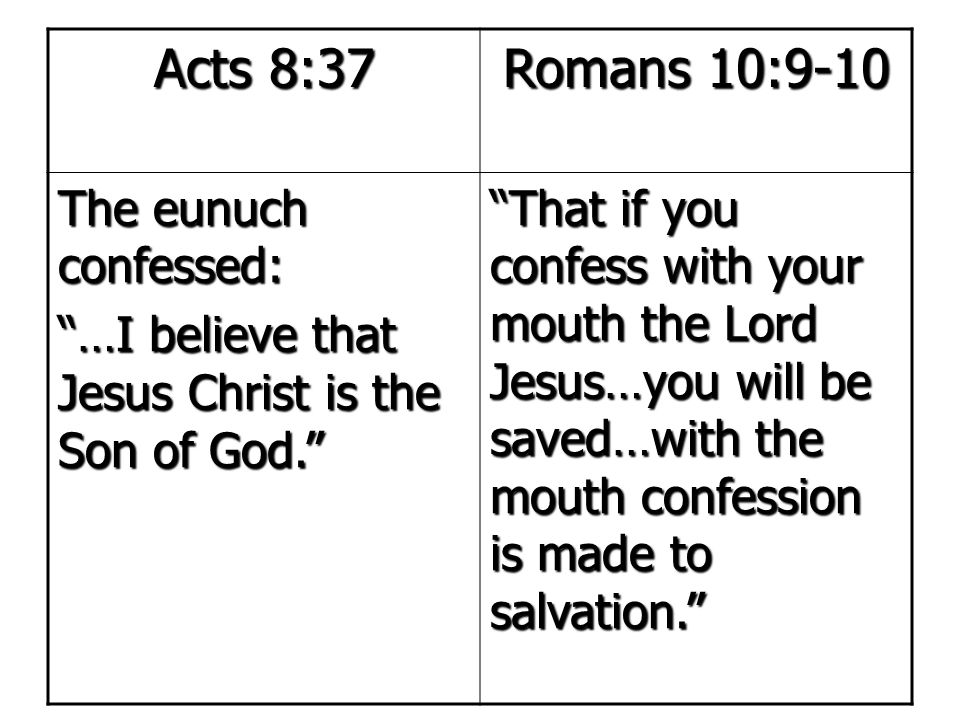 """Acts 8:37 Romans 10:9-10 The eunuch confessed: """"…I believe that Jesus Christ is the Son of God."""" """"That if you confess with your mouth the Lord Jesus…y"""