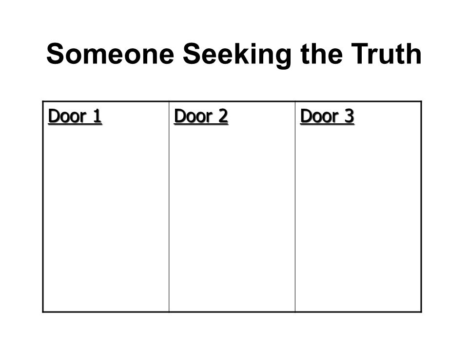 Someone Seeking the Truth Door 1 Door 2 Door 3