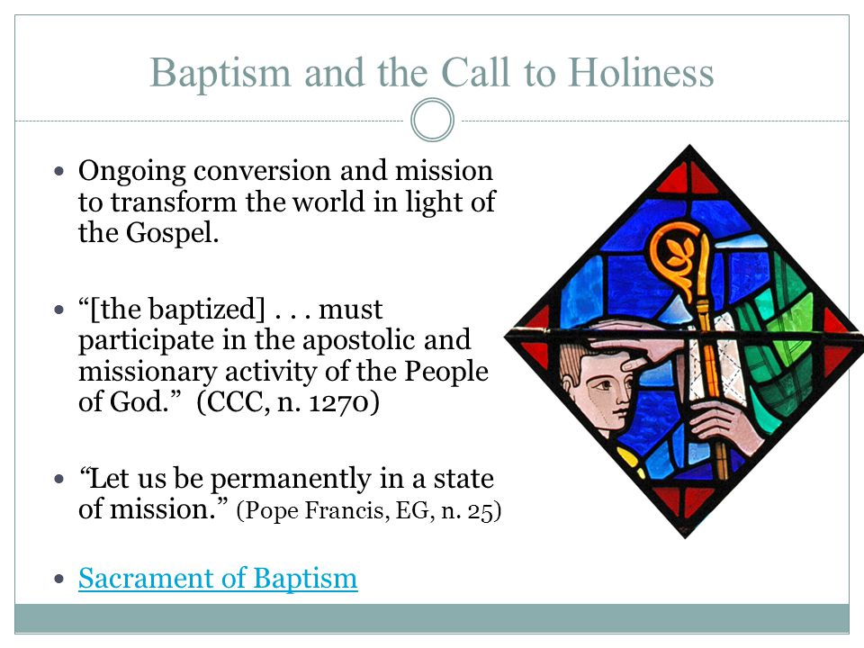 Baptism and the Call to Holiness Ongoing conversion and mission to transform the world in light of the Gospel.
