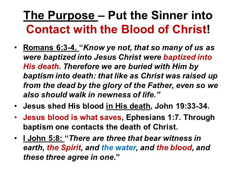 The Purpose – Put the Sinner into Contact with the Blood of Christ.