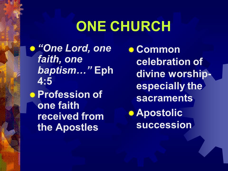 ONE CHURCH  One Lord, one faith, one baptism… Eph 4:5  Profession of one faith received from the Apostles  Common celebration of divine worship- especially the sacraments  Apostolic succession